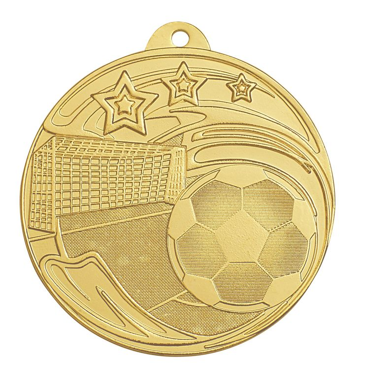 Médaille frappée fer football or 50mm + option(s)