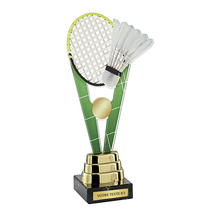 Trophée acrylique badminton H.24cm + option(s)